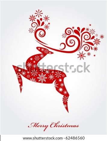 Vector Christmas background with red reindeer - stock vector
