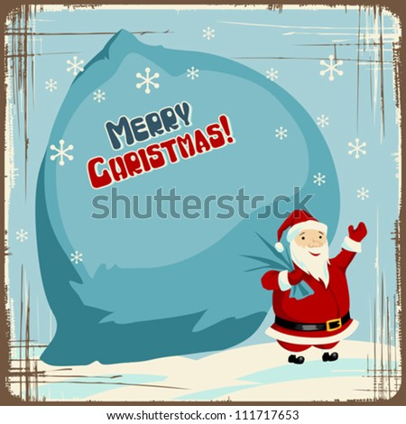 Vector Christmas background with Santa holding big bag of gifts. - stock vector