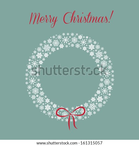 Vector christmas background with snowflake wreath - stock vector