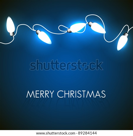 Vector Christmas background with white christmas chain lights on blue - stock vector