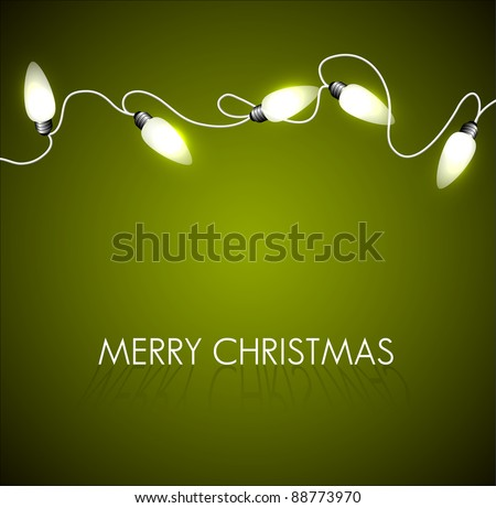 Vector Christmas background with white christmas chain lights on green - stock vector
