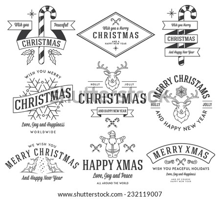 Vector christmas badges and labels for any use - stock vector