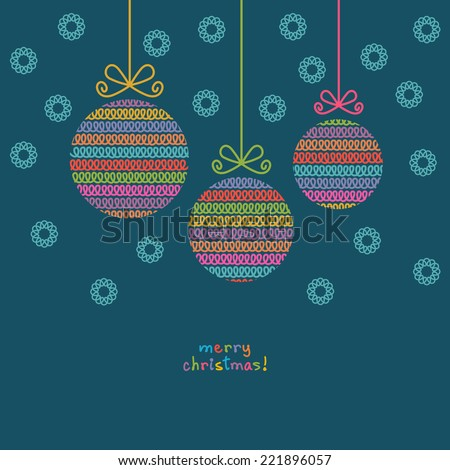 Vector christmas ball of doodle knitted shapes. Greeting, invitation card with decoration. Simple illustration for print, web - stock vector