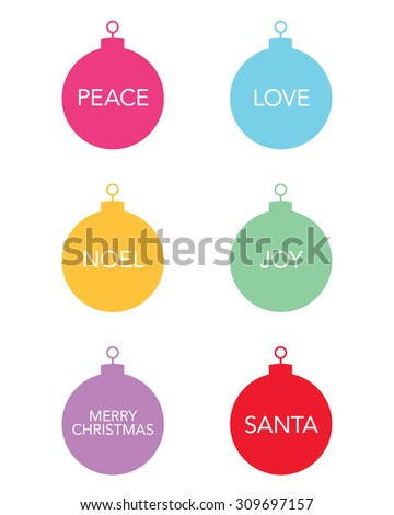 Vector Christmas Ball Ornaments with Messaging - stock vector