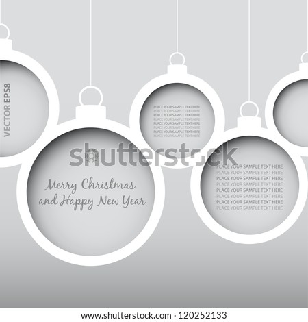 Vector Christmas Balls - cut from paper concept. Vector Eps8 - No transparency. - stock vector