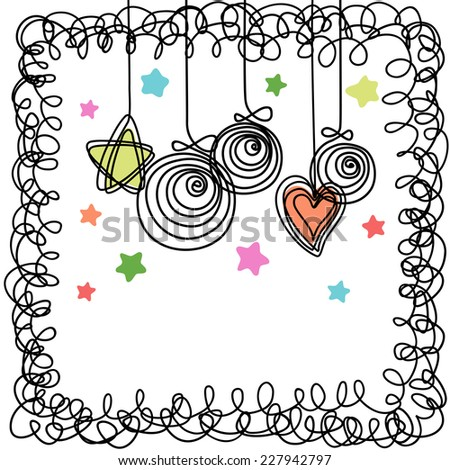 Vector Christmas balls, stars, heart, frame of doodles. Invitation greeting card. Holiday simple illustration in childish hand drawn style for print, web - stock vector