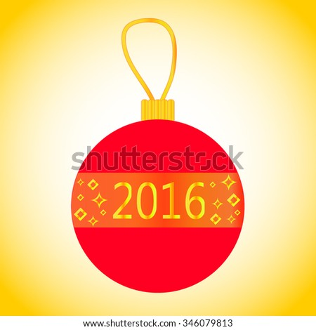 Vector Christmas bauble with figures 2016 and golden decor. Bright red New Year bauble. New Year 2016 decor. Traditional fir tree decoration. XMas bauble with loop & decor. Red & golden Christmas ball - stock vector