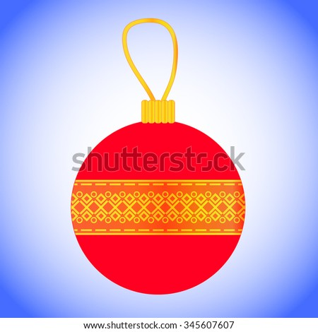 Vector Christmas bauble with golden pattern and loop of thread on top. Traditional New Year decoration. Classic red XMas ornament. Bright Christmas ornament. - stock vector