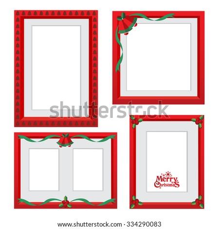 vector christmas border, christmas frame picture - stock vector