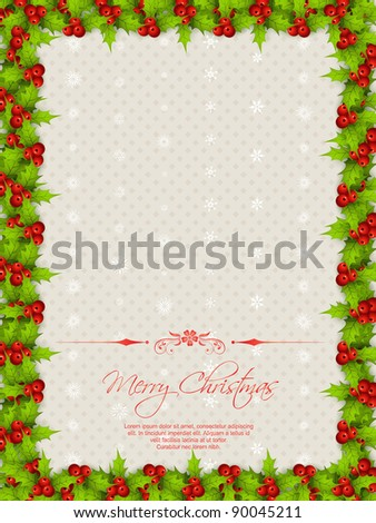 vector christmas border with space for your text - stock vector