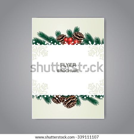 Vector Christmas brochure with twigs, cones and snow, beige flyer or book design, poster, layout template, Christmas cards, New Year card - stock vector