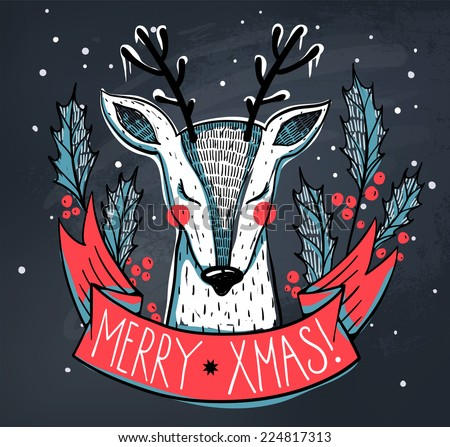 vector Christmas card with a cute deer on a chalkboard background - stock vector