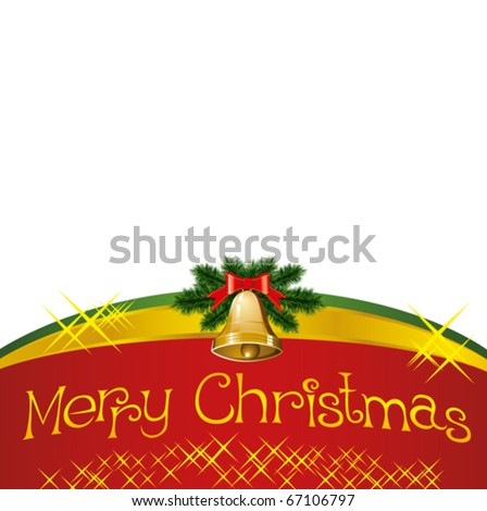 vector christmas card with bells with christmas tree decorations - stock vector