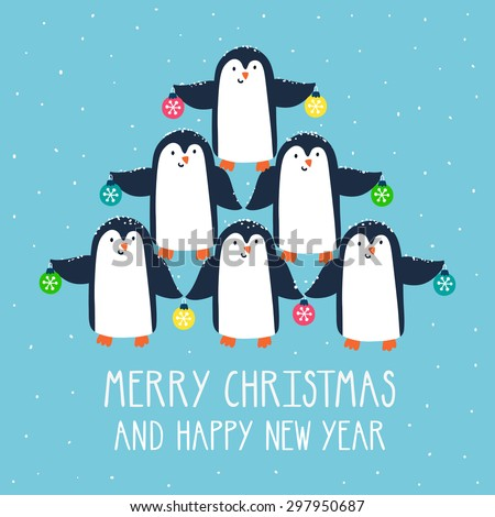 """Vector Christmas card with cute penguins and text """"Merry Christmas and happy new year"""". Holiday background with smiling cartoon characters. Concept illustration. Christmas tree made from penguins - stock vector"""
