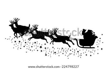 vector Christmas card with Santa Claus and deer flying  - stock vector