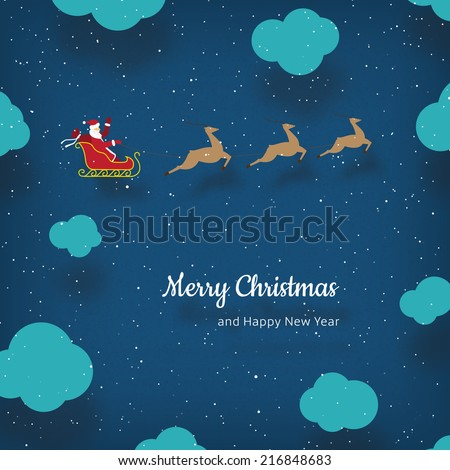 Vector Christmas card with Santa Claus and reindeers - stock vector