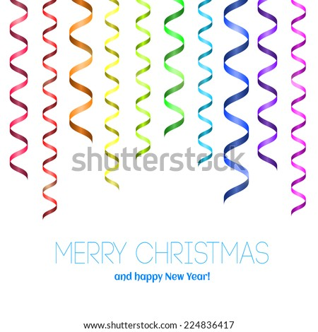 Vector Christmas card with serpentine. Merry Christmas and happy New Year! Rainbow serpentine pattern for congratulation. Template for congratulation - stock vector
