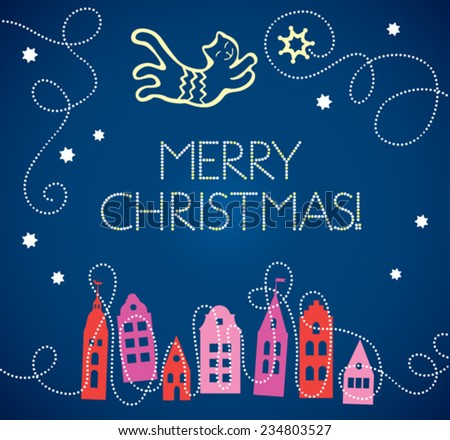 Vector Christmas Card with Stars, Cat and Old Town - stock vector