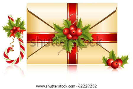 Vector. Christmas decoration: gift envelope with holly and candy cane - stock vector
