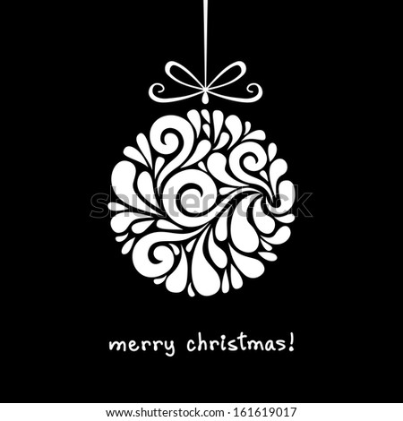 Vector Christmas decoration made from swirl shapes. Ball with bow. Original modern circle design element. Greeting, invitation cute card. Simple decorative black and white illustration for print, web  - stock vector