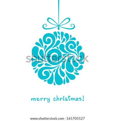 Vector Christmas decoration made from swirl shapes. Blue ball with bow. Original modern circle design element. Greeting, invitation cute card. Simple decorative illustration for print, web  - stock vector