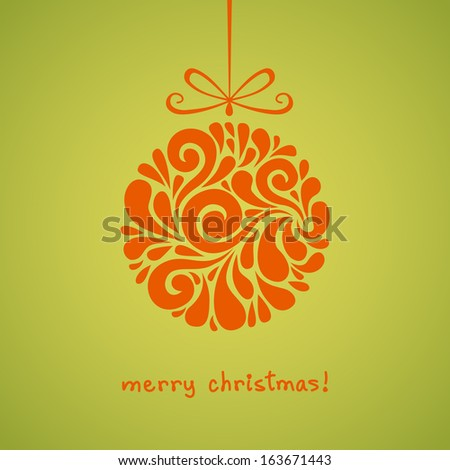 Vector Christmas decoration made from swirl shapes. Red ball with bow. Original modern circle design element. Greeting, invitation cute card. Simple decorative illustration for print, web  - stock vector