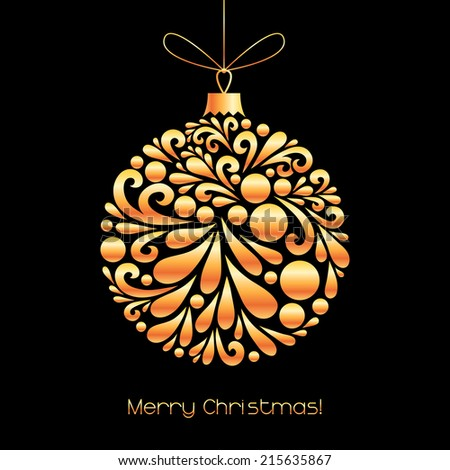 Vector Christmas decoration made from swirl shapes. Unusual circle design element. Greeting, invitation card. Simple decorative black and gold illustration for print, web. - stock vector