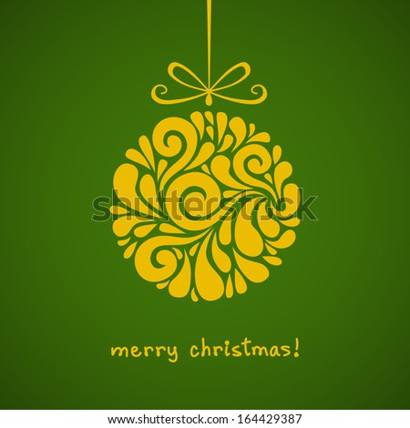 Vector Christmas decoration made from swirl shapes. Yellow ball with bow. Original modern circle design element. Greeting, invitation cute card. Simple decorative illustration for print, web - stock vector