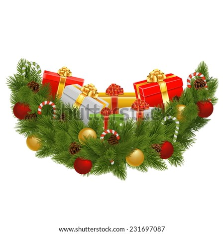 Vector Christmas Decoration with Gifts - stock vector