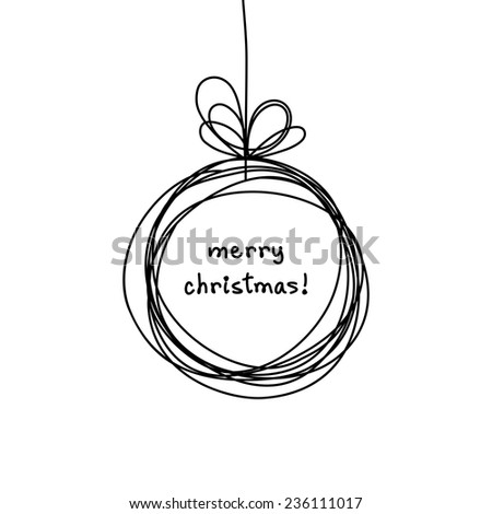 Vector Christmas doodle ball background. Cute hand drawn childish invitation, greeting card. Holiday linear illustration for print, web - stock vector