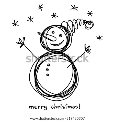 Vector Christmas doodle funny snowman. Cute hand drawn childish invitation, greeting card. Holiday linear illustration for print, web - stock vector