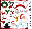 Vector Christmas elements isolated on white - stock vector