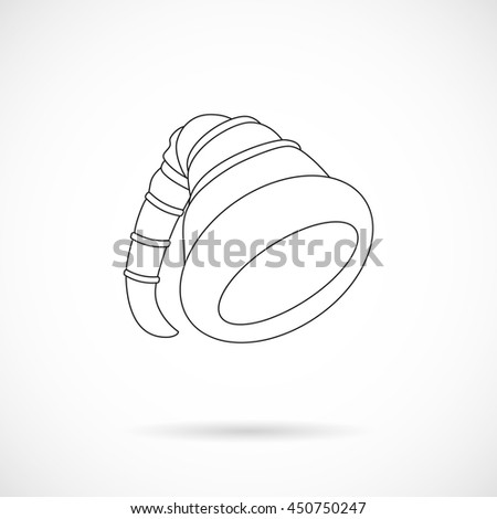 Vector Christmas Elf Cap isolated over white background. Black outline style. Element for Christmas holiday projects and designs. - stock vector