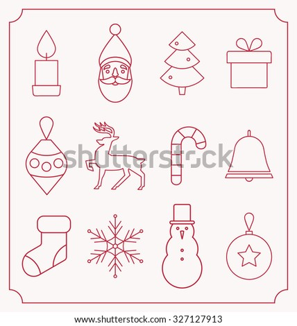 Vector Christmas flat minimalistic line icon set - Collection of 12 holiday themed line icon designs - stock vector