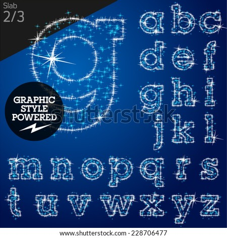 Vector christmas font characters of a shining stars. Slab. File contains graphic styles available in Illustrator - stock vector