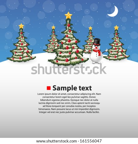 Vector Christmas forest with a snowman on the background - stock vector