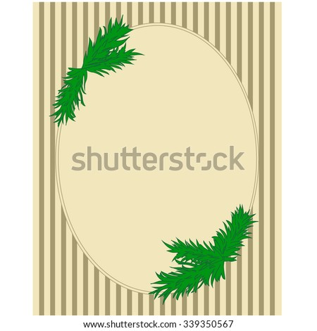 vector christmas frame with hand draw pine tree branch - stock vector