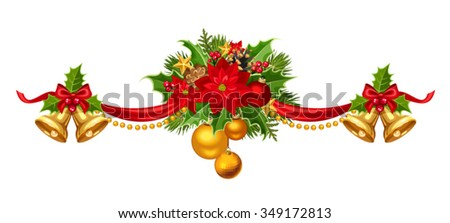 Vector Christmas garland with red, gold and green balls, bells, ribbon, fir branches and holly. - stock vector
