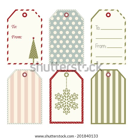 Vector Christmas gift tags. - stock vector