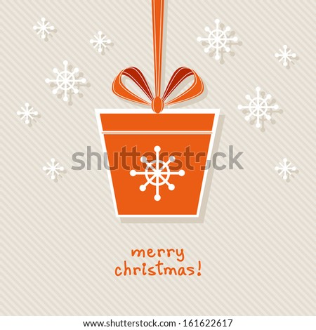 Vector Christmas gift with red ribbon and bow. Original design element. Simple festive label. Greeting, invitation cute card with lettering - Merry Christmas. Decorative illustration for print, web  - stock vector