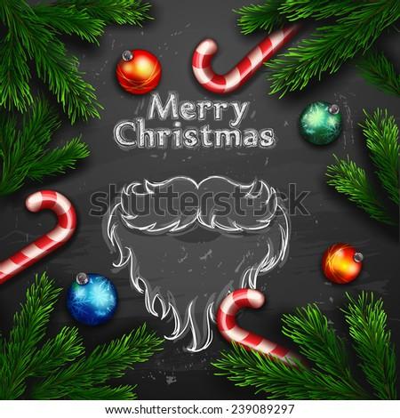 Vector Christmas Greeting Card. Chalk drawn Happy new year xmas - stock vector