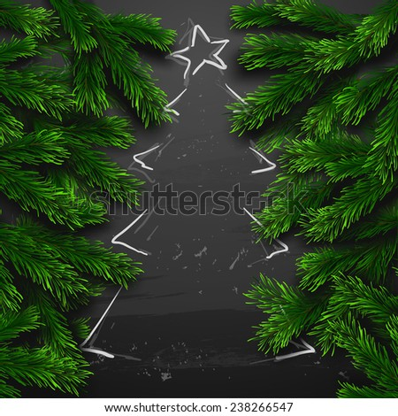 Vector Christmas Greeting Card. Chalk drawn Happy new year xmas tree - stock vector