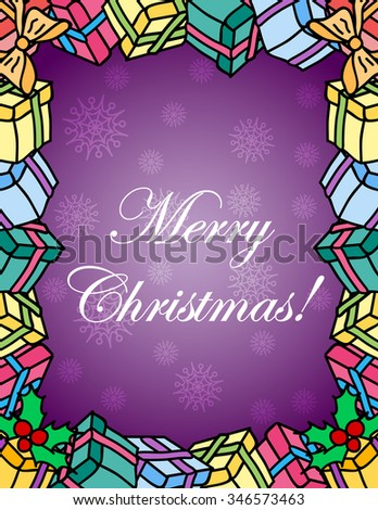 Vector Christmas greeting card in cartoon style border made of presents. Cute boxes of xmas gifts wrapped with ribbons and bows - letter holiday doodle frame. Merry Christmas text wish in the middle - stock vector