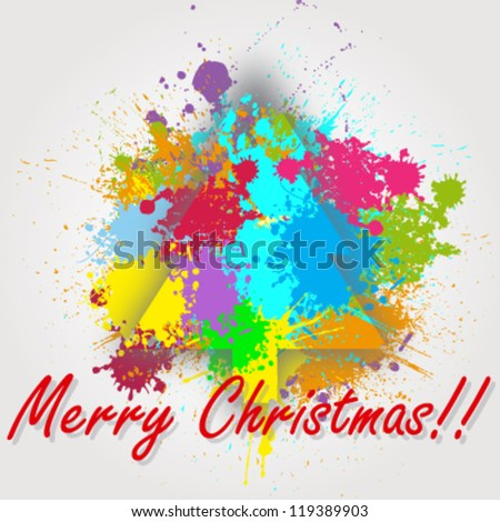 Vector Christmas greeting card made with different paint splashes - stock vector