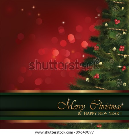 Vector Christmas greeting card. No transparency used. Christmas fluffy tree with natural ornaments and red bokeh background. Background is in its separate layer and can be used on its own. - stock vector