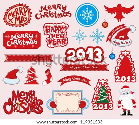 Vector. Christmas icons. - stock vector
