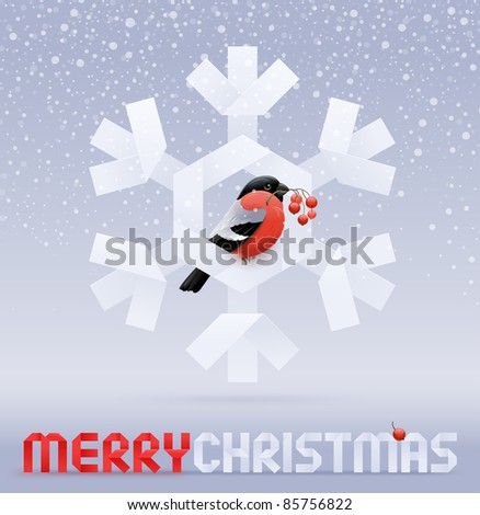 Vector Christmas illustration - a bullfinch with a rowan sitting on a paper snowflake - stock vector
