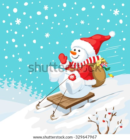 Vector Christmas illustration. Snowman on sled with christmas gifts. New year card concept. - stock vector