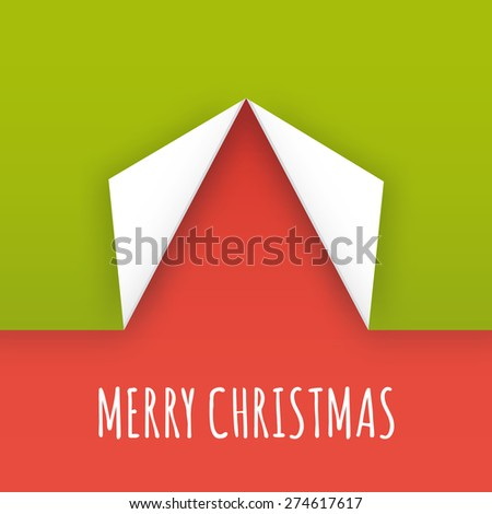 Vector Christmas illustration. Stylized xmas tree - folded corners of wrapping paper. - stock vector