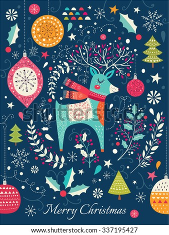 Vector Christmas illustration with deer - stock vector